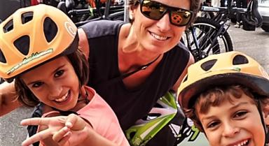 Kids with cycling helmet