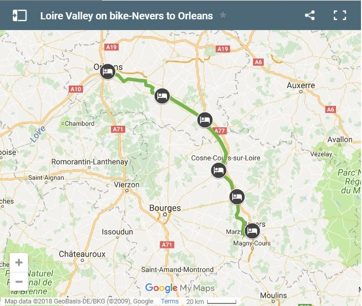 Map cycling route from Nevers to Orleans