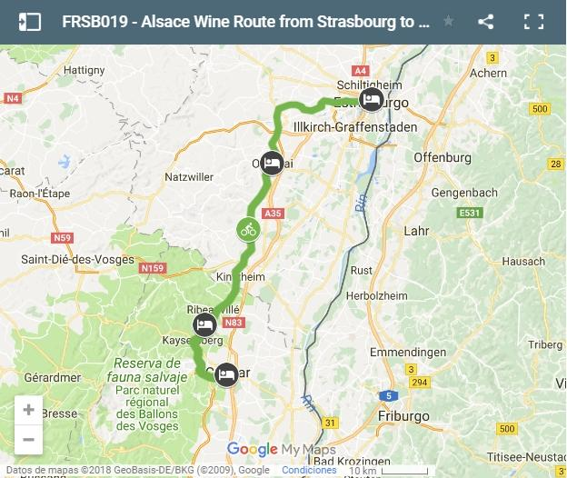 Map cycling route form Strasbourg to Colmar-Aslace