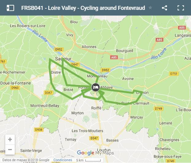 Map Cycling routes Loire Valley