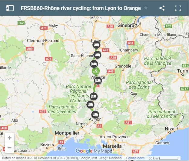Map cycling route Rhône river- from Lyon to Orange