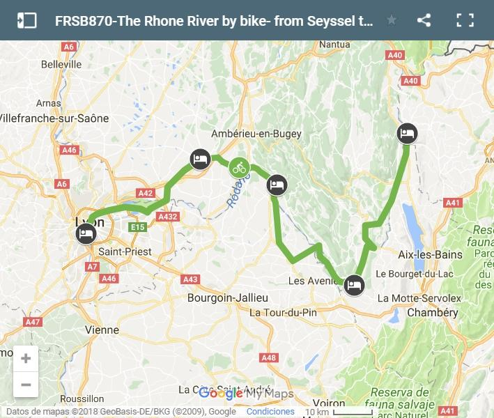 Map cycling route Rhône river- from Seyssel to Lyon