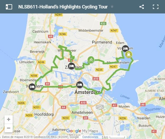 Holland's highlights cycling map
