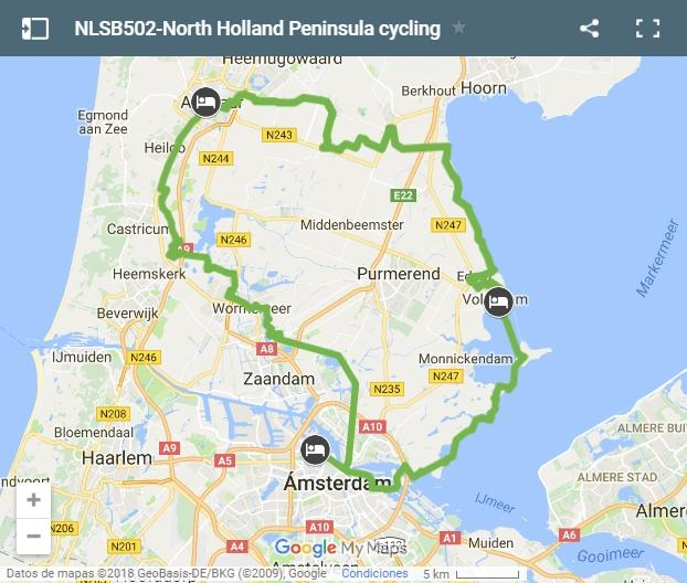 Cycling routes north Holland