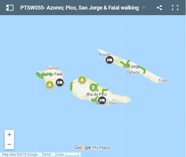 Map walking routes in Pico, Sao Jorge and Faial islands