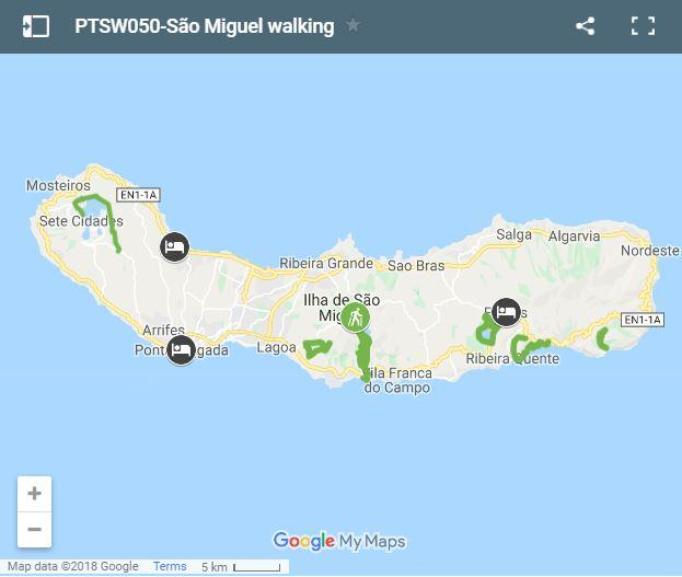 Map walking routes Sao Miguel Azores
