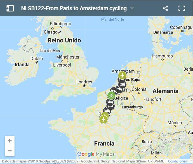 Map cycling route from Paris to Amsterdam