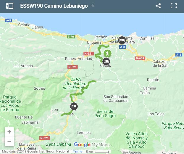 Map Camino Lebaniego walking route
