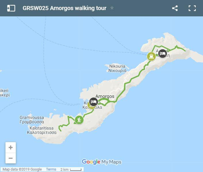 Map walking routes in Amorgos Island