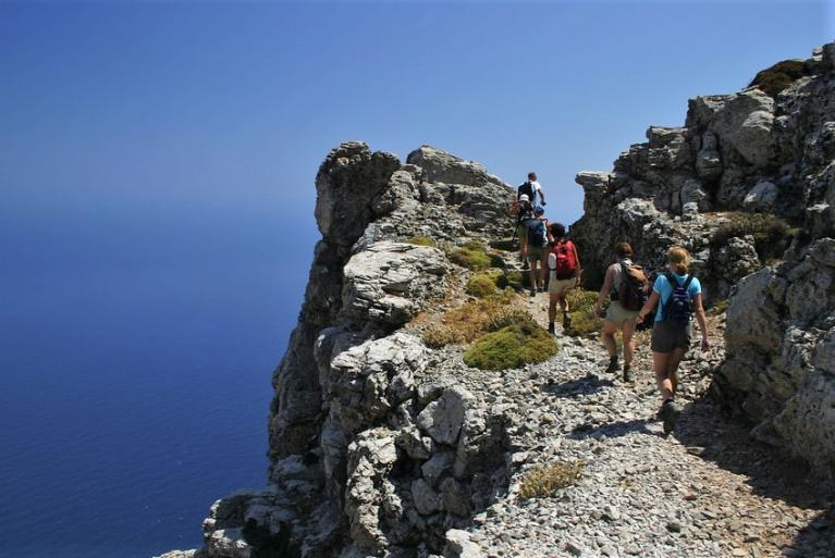 Hikers in Amorgos Island