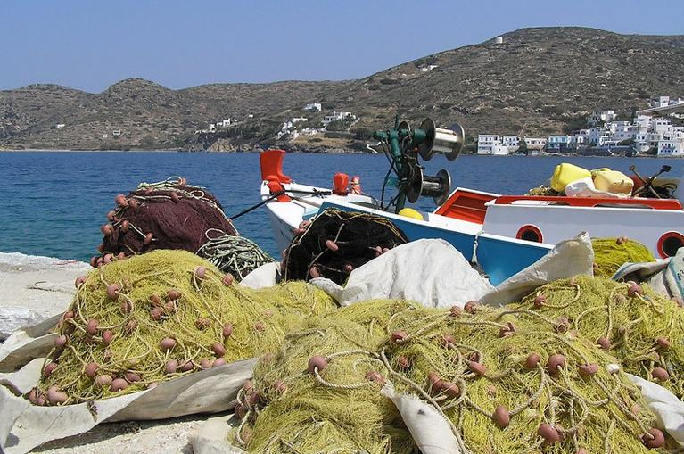Fishing boats and nets Amorgos