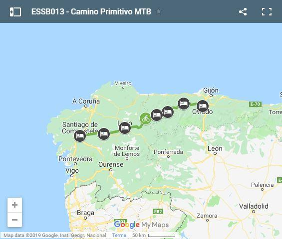 Map Camino Primitivo cycling