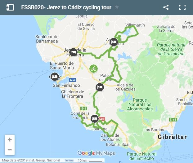 Map cycling route Jerez to Cádiz