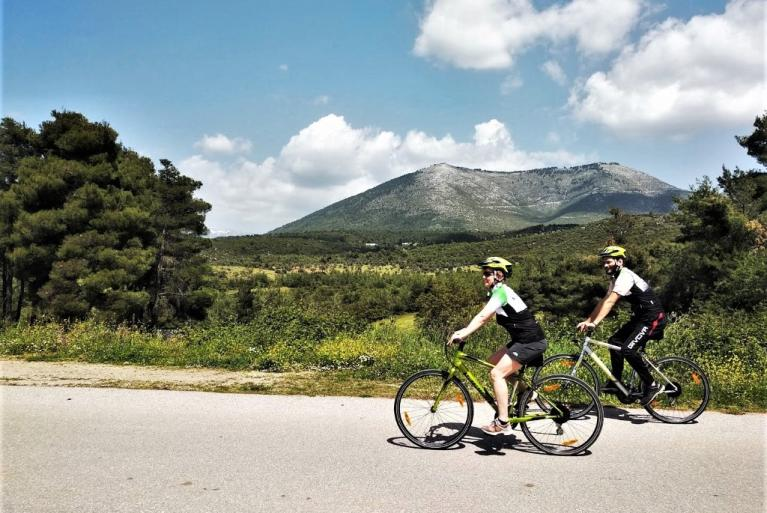Couple cycling in Evia Island