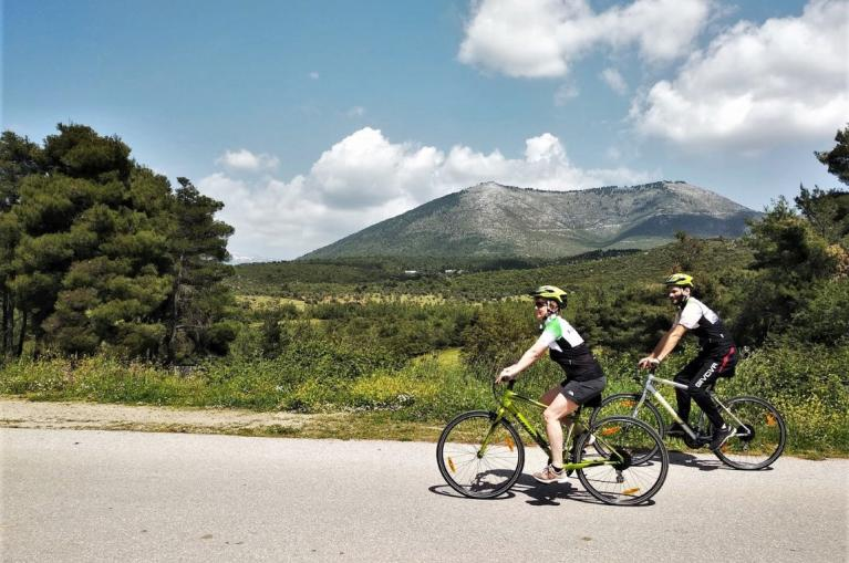 Cyclists in Evia