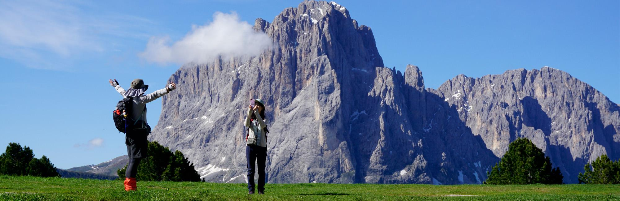 Hiker in Dolomites