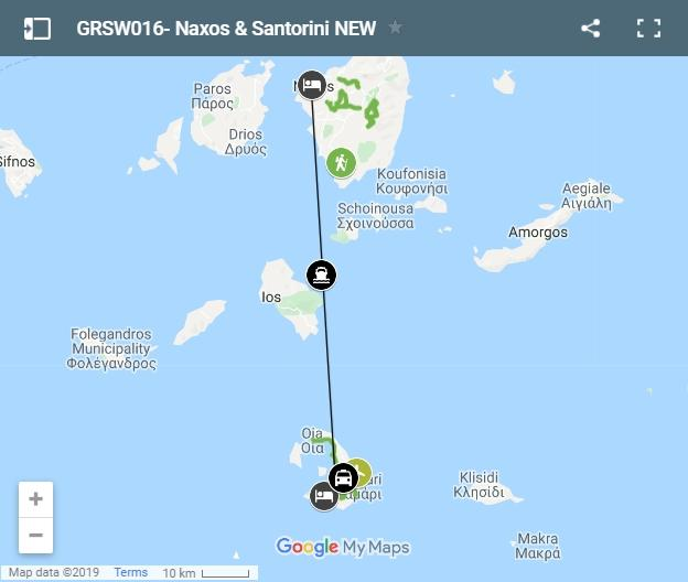 Map walking routes in Naxos and Santorini