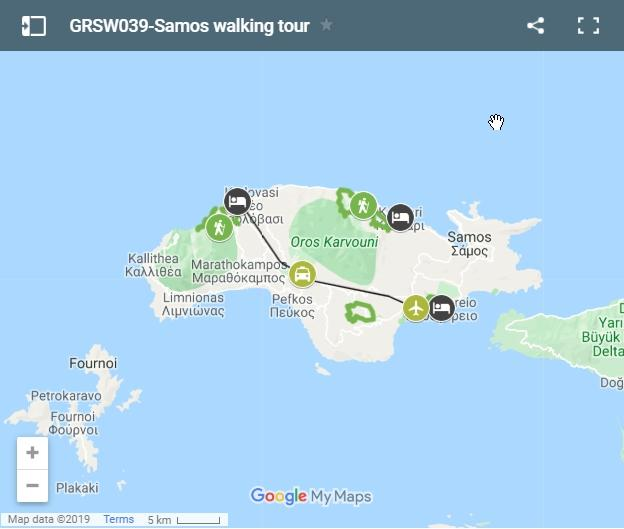 Map walking routes in Samos