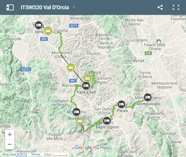 Map walking routes Val D'orcia