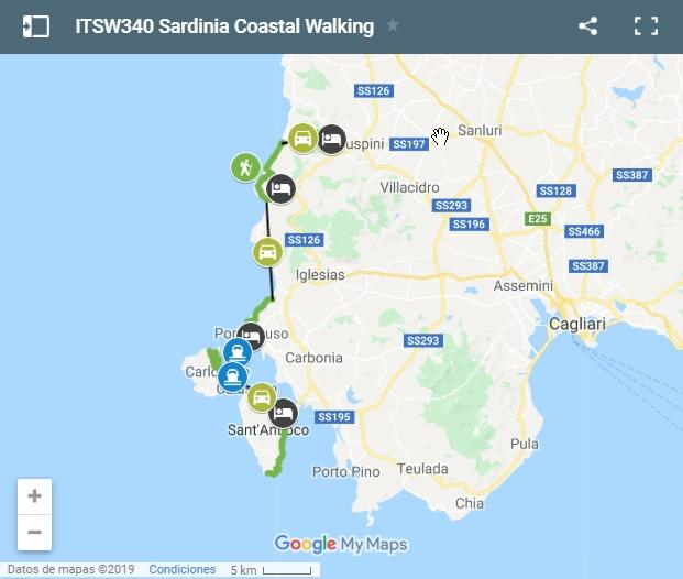 Map walking routes in Sardinia