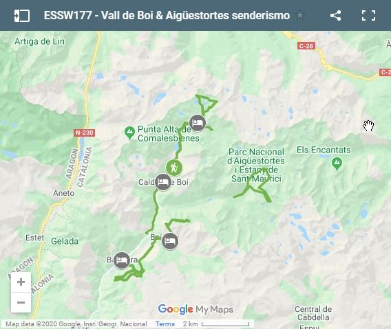 Map walking routes Vall de Boí & Aigüestortes