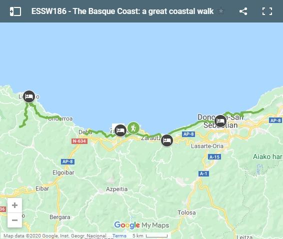 Map walking route basque coast