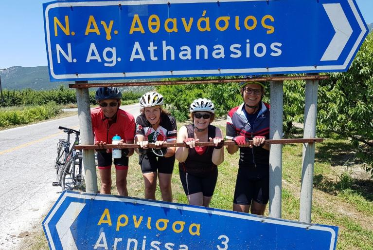 Group of cyclist travelling in Greece