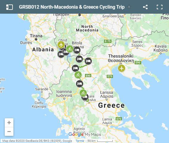 Map cycling routes north Macedonia