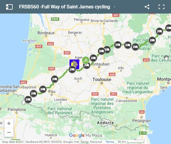 Map Way of Saint James in France full route