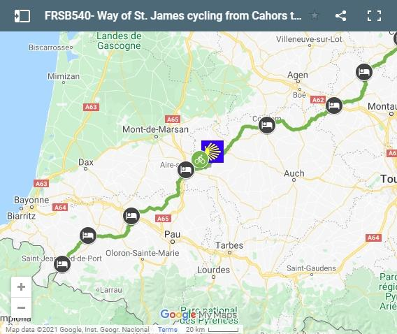 Map cycling route Way of Saint James from Cahors