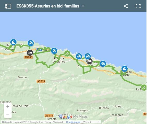 Map cycling routes in Asturias