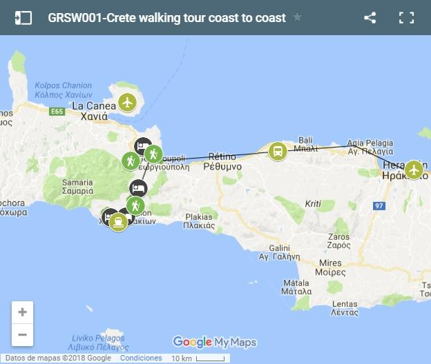 Walking routes in Creta map