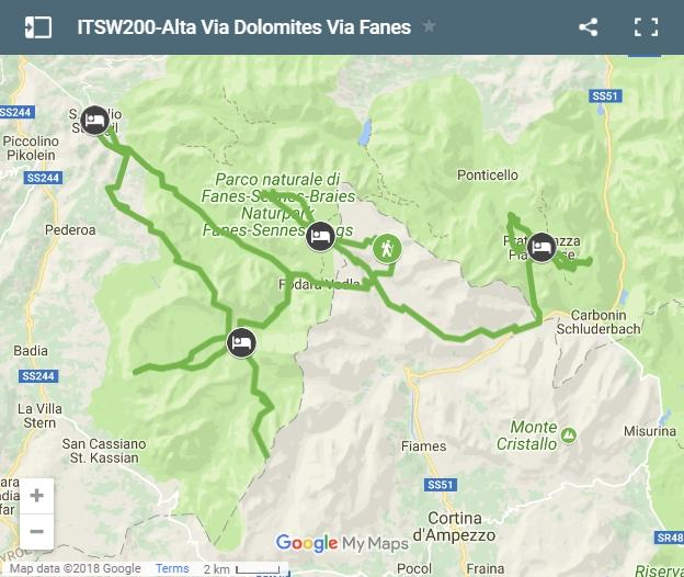 Map walking routes Alta Via Dolomites via Fanes & Sennes