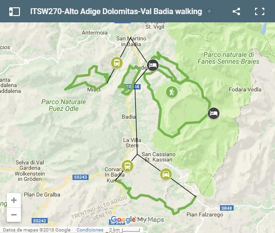 Walking tour Dolomites Val Badia map