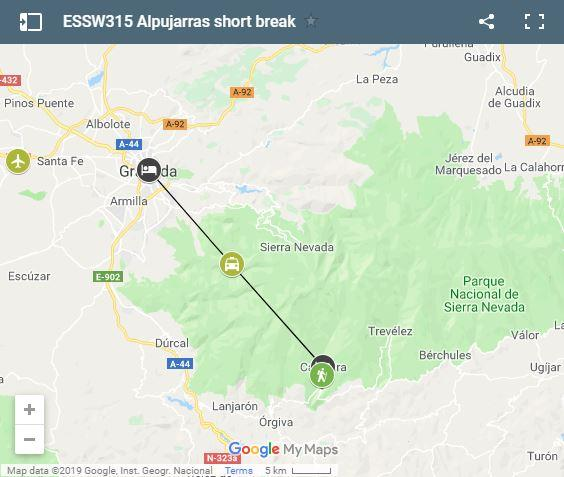 Map Alpujarras & Granada shortbreak