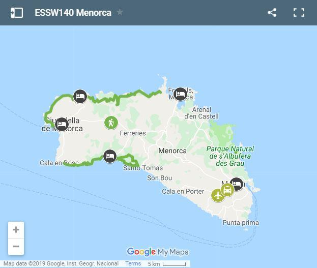 Map walking routes in Menorca