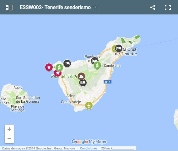 Walking routes in Tenerife map