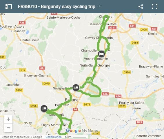 Map Burgundy easy cycling