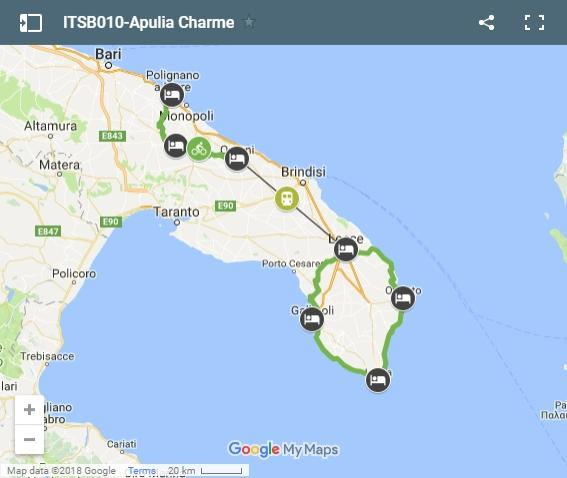 Map cycling routes Apulia