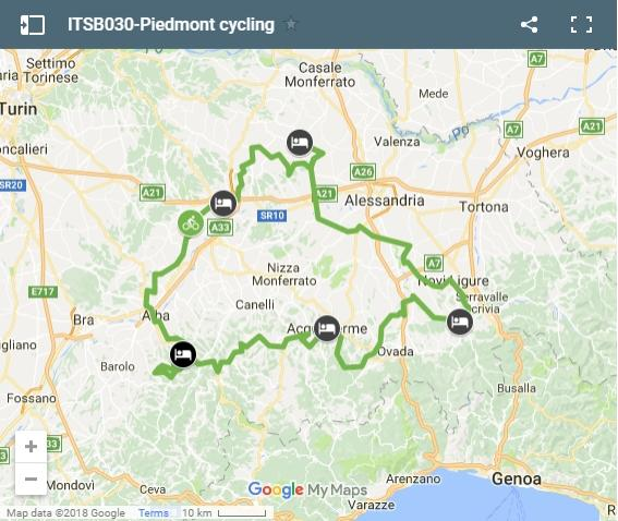 Map Piedmont cycling routes