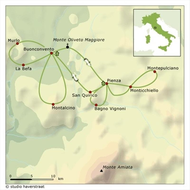 Cycling holidays Italy-Tuscany Val d\'Orcia selfguided 8 days