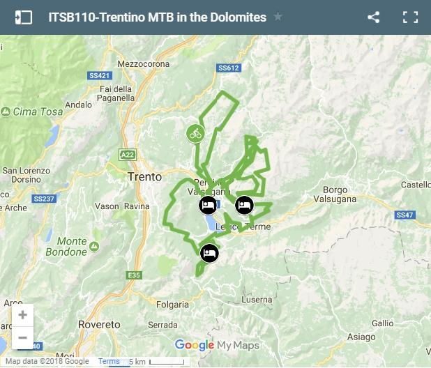 Map cycling routes dolomites