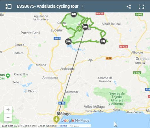 Map cycling routes Andalucia