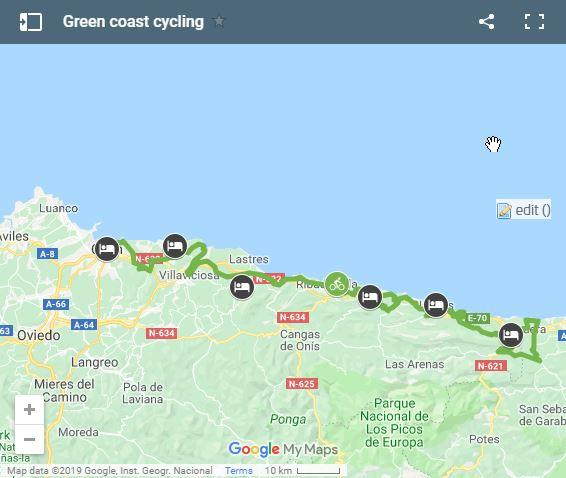 Map cycling routes Asturias