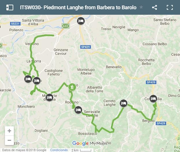 Piedmont Langhe from Barbera to Barolo map