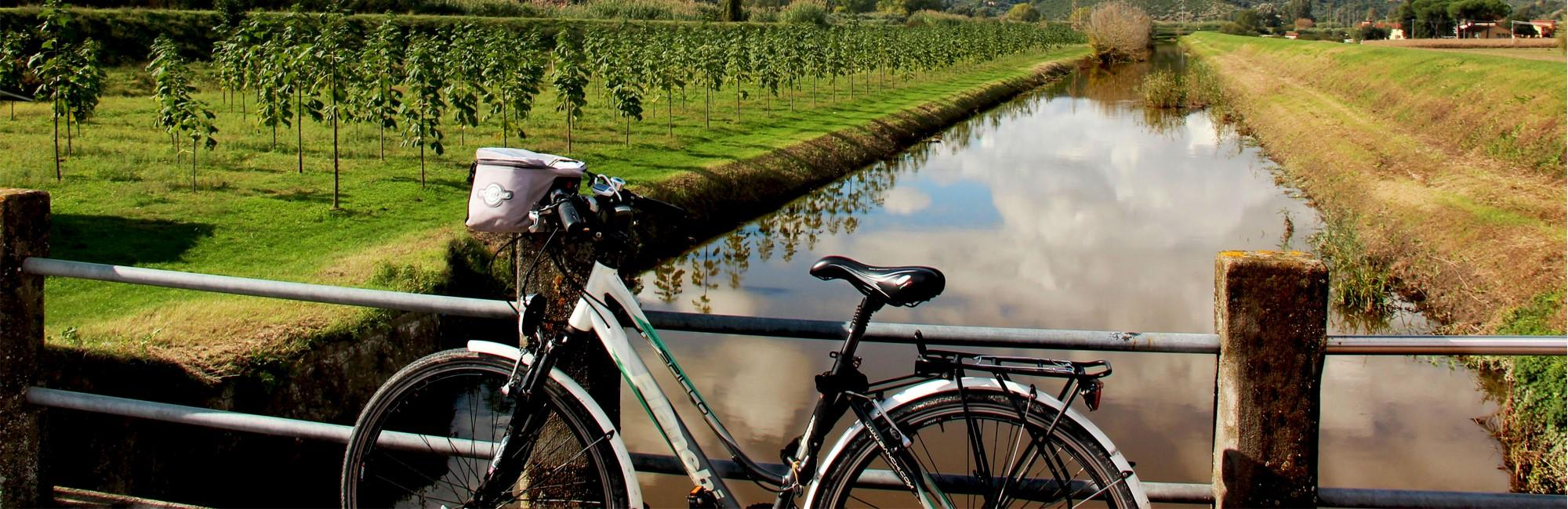 Bicycle parked in an irrigation canal