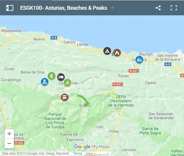 Map activities for families in Picos de Europa