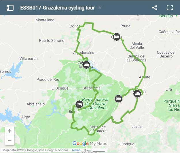 Map cycling routes Grazalema
