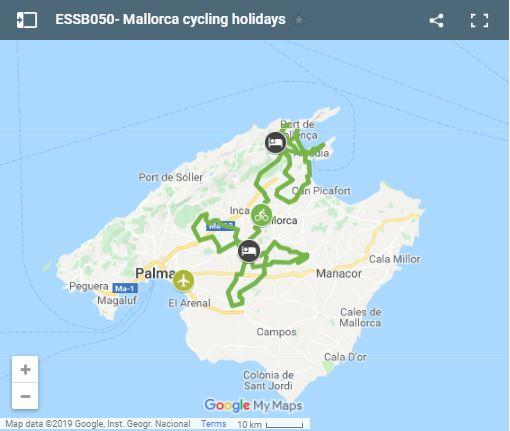Map cycling routes north Mallorca