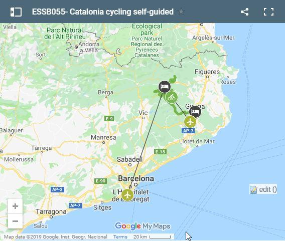 Catalonia cycling routes map